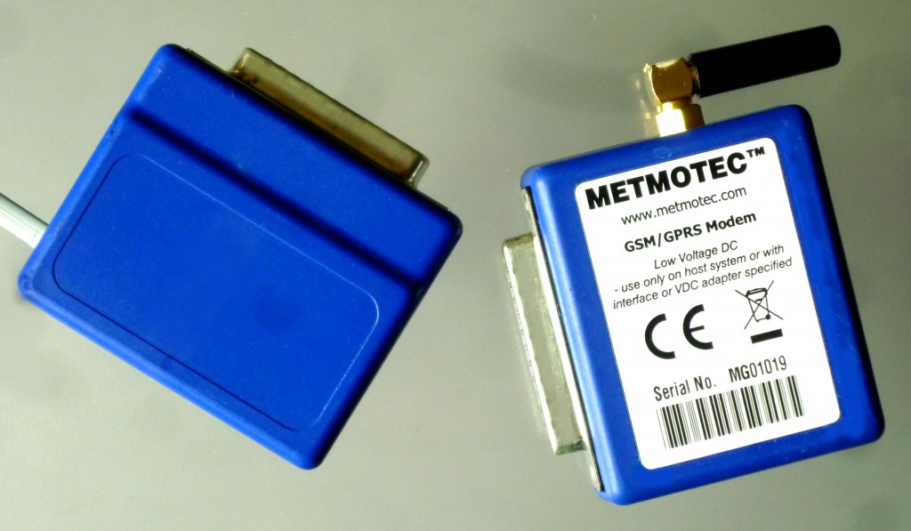 METMOTEC 'pocket' modems are available in the same format for both PSTN (shown left) or GSM/GPRS connection